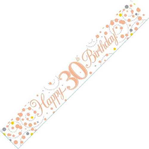 30th Birthday White & Rose Gold 9ft Wall Banner
