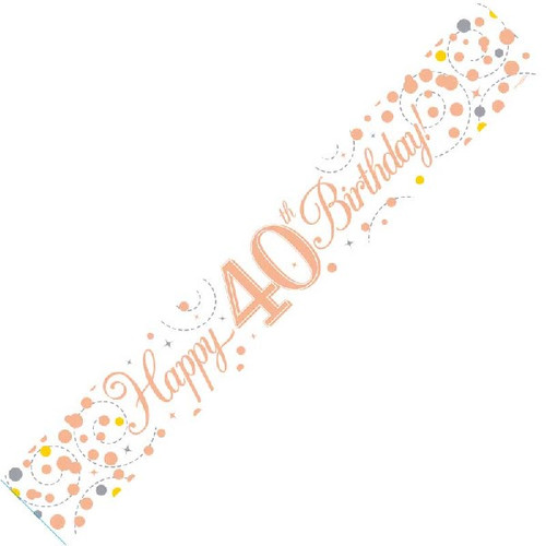 40th Birthday White & Rose Gold 9ft Wall Banner