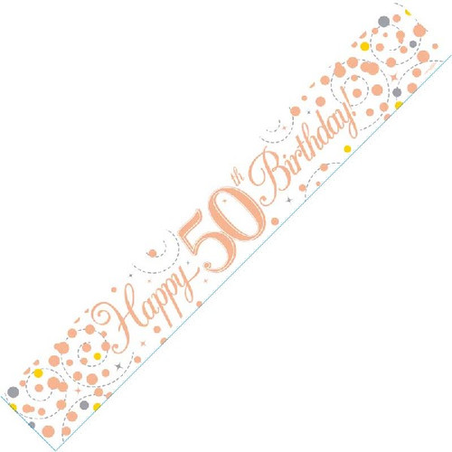 50th Birthday White & Rose Gold 9ft Wall Banner