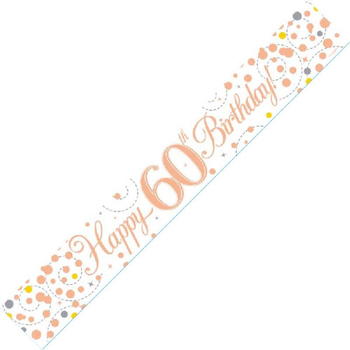 60th Birthday White & Rose Gold 9ft Wall Banner