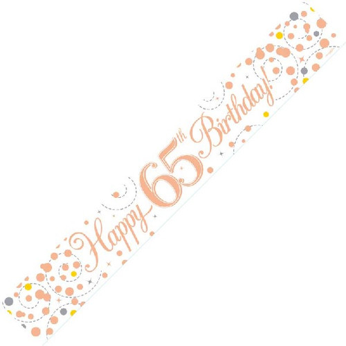65th Birthday White & Rose Gold 9ft Wall Banner