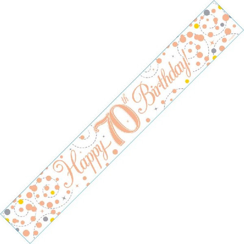 70th Birthday White & Rose Gold 9ft Wall Banner