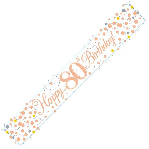 80th Birthday White & Rose Gold 9ft Wall Banner