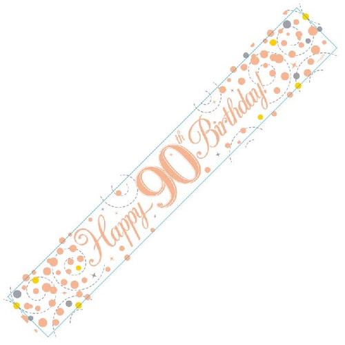 90th Birthday White & Rose Gold 9ft Wall Banner