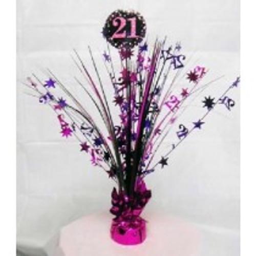 Happy Birthday 21st Pink Sparkles Centerpiece