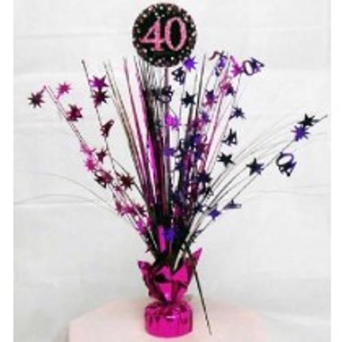 Happy Birthday 40th Pink Sparkles Centerpiece