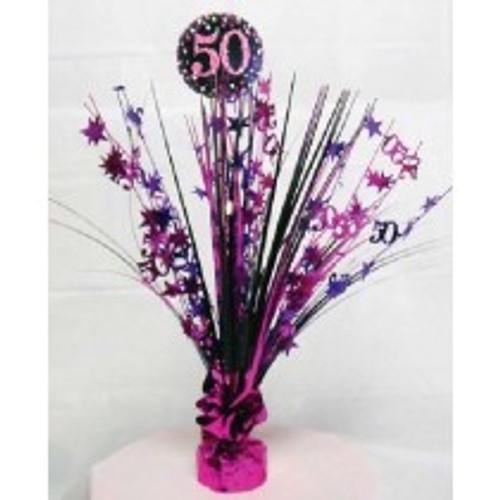 Happy Birthday 50th Pink Sparkles Centerpiece