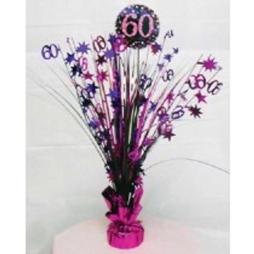 Happy Birthday 60th Pink Sparkles Centerpiece