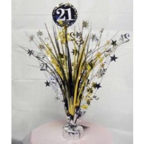 Happy Birthday 21st Gold Sparkles Centerpiece