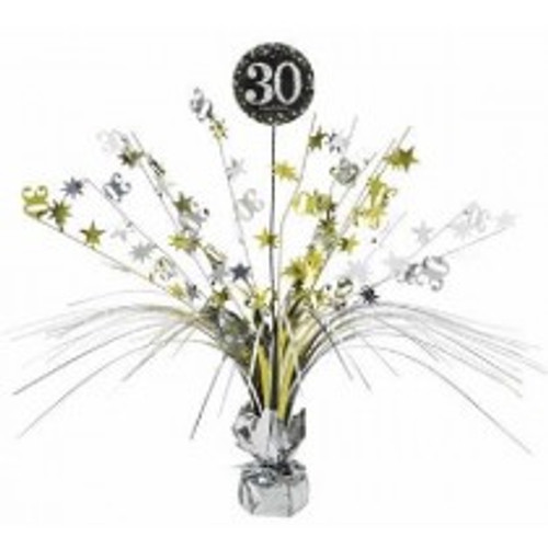 Happy Birthday 30th Gold Sparkles Centerpiece