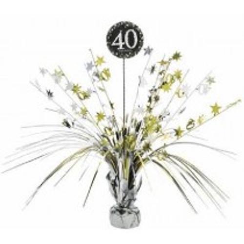 Happy Birthday 40th Gold Sparkles Centerpiece