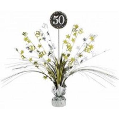 Happy Birthday 50th Gold Sparkles Centerpiece
