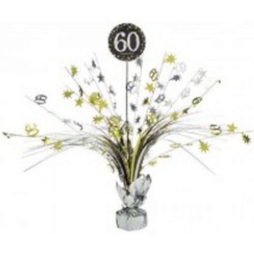 Happy Birthday 60th Gold Sparkles Centerpiece