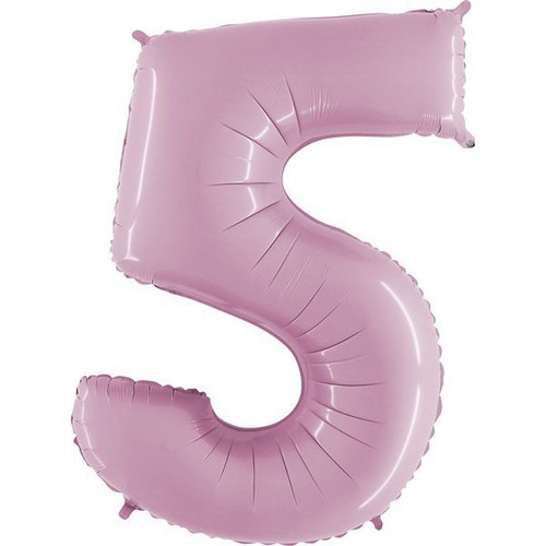 40in Pastel Pink Number 5 Jumbo Foil Balloon