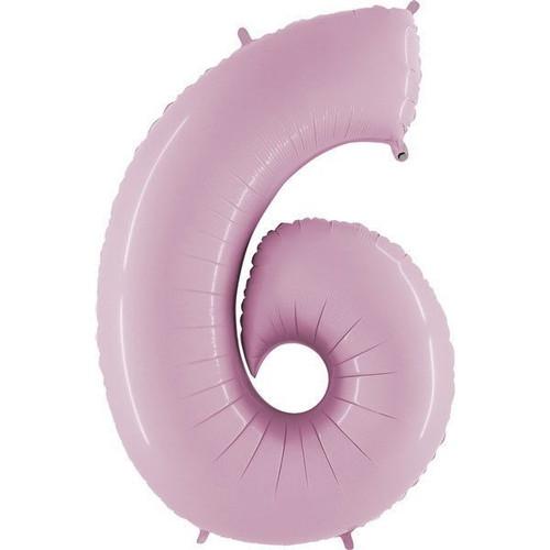 40in Pastel Pink Number 6 Jumbo Foil Balloon