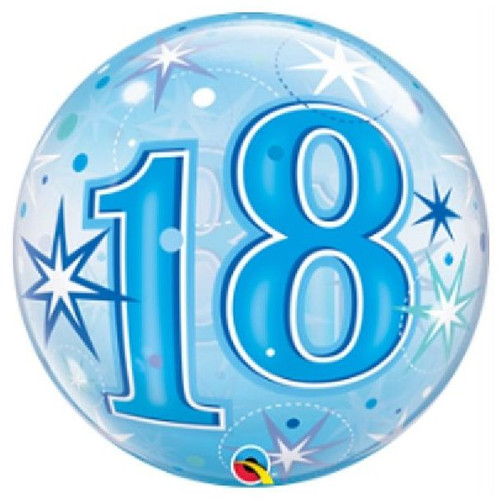 18th Birthday Blue Sparkle 22in Bubble Balloon