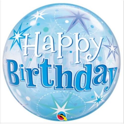 Birthday Blue Sparkle 22in Bubble Balloon