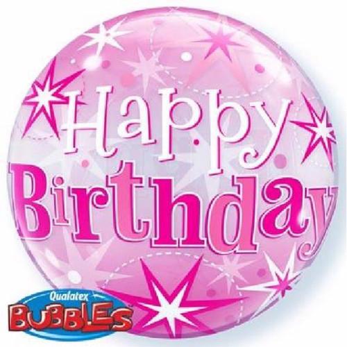 Birthday Pink Starburst Sparkle 22in Bubble Balloon