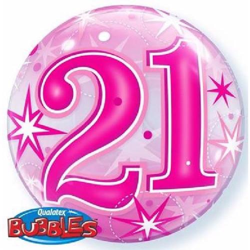 21st Birthday Pink Starburst Sparkle 22in Bubble Balloon