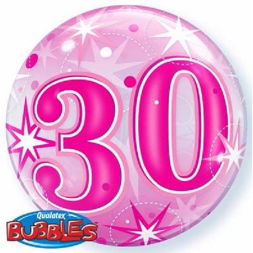 30th Birthday Pink Starburst Sparkle 22in Bubble Balloon