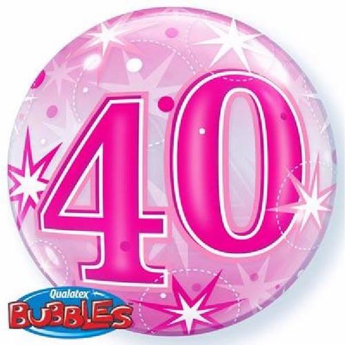 40th Birthday Pink Starburst Sparkle 22in Bubble Balloon