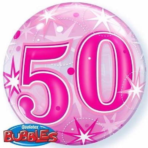 50th Birthday Pink Starburst Sparkle 22in Bubble Balloon