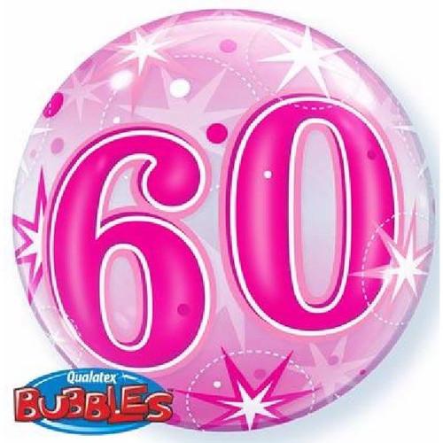 60th Birthday Pink Starburst Sparkle 22in Bubble Balloon