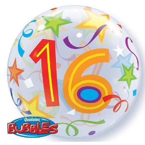 16th Birthday Stars 22in Bubble Balloon