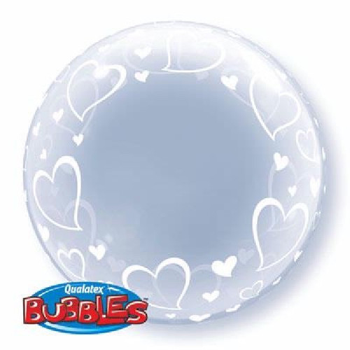 Stylish Hearts Deco Bubble Balloon 24in