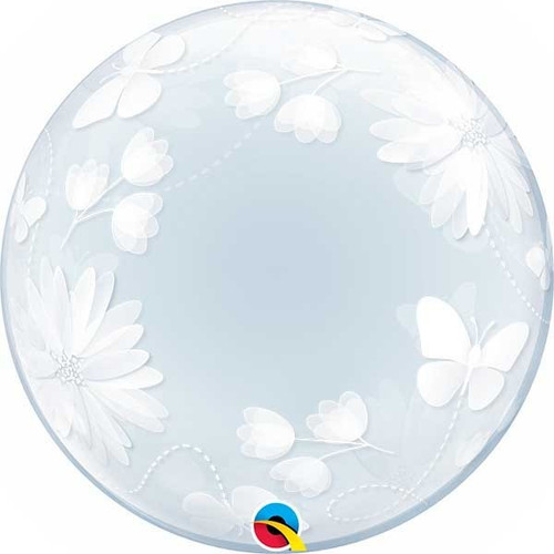 Butterflies & Flowers Deco Bubble Balloon 20in
