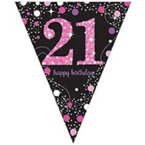 21st Birthday Pink Sparkles Pennant Banner