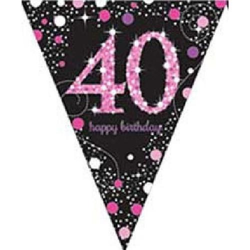 40th Birthday Gold Sparkles Pennant Banner
