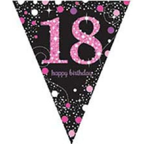 18th Birthday Gold Sparkles Pennant Banner
