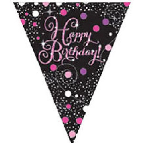 Happy Birthday Gold Sparkles Pennant Banner