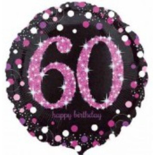 60th Pink Sparkles 18 Inch Foil Balloon