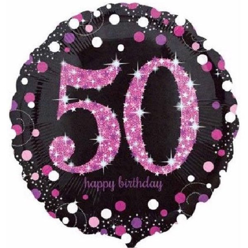 50th Pink Sparkles 18 Inch Foil Balloon