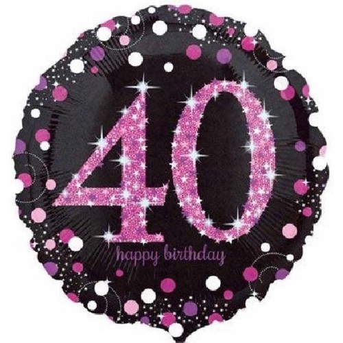 40th Pink Sparkles 18 Inch Foil Balloon
