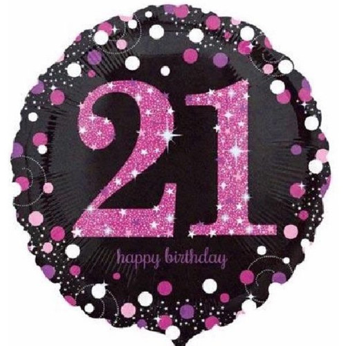 21st Pink Sparkles 18 Inch Foil Balloon