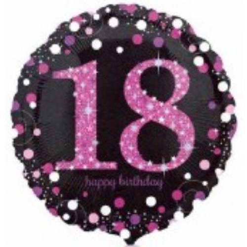 18th Pink Sparkles 18 Inch Foil Balloon