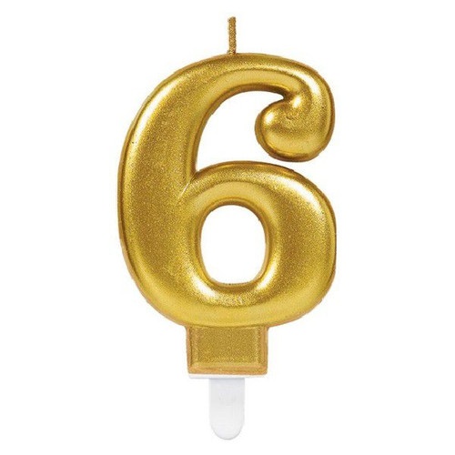 Gold Sparkles Number 6 Candle