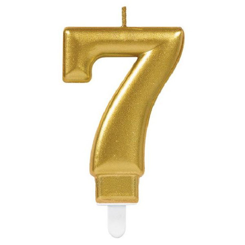 Gold Sparkles Number 7 Candle