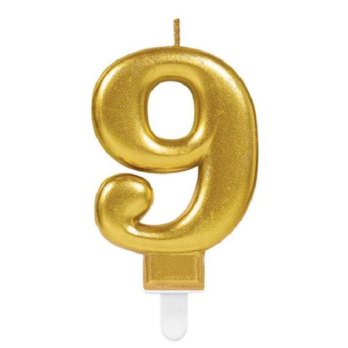 Gold Sparkles Number 9 Candle