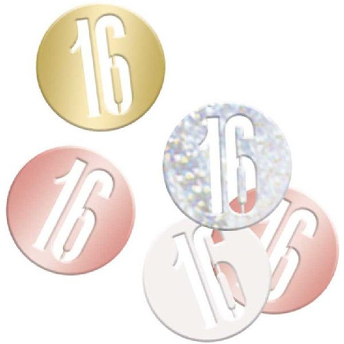 16th Birthday Rose Gold Glitz Foil Confetti
