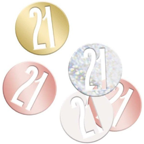 21st Birthday Rose Gold Glitz Foil Confetti