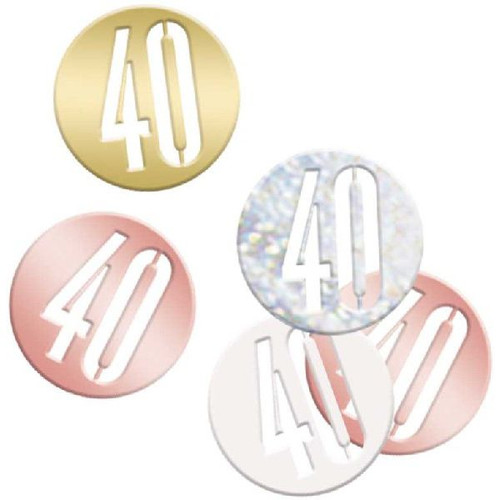 40th Birthday Rose Gold Glitz Foil Confetti
