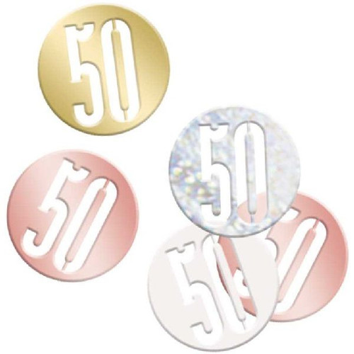 50th Birthday Rose Gold Glitz Foil Confetti
