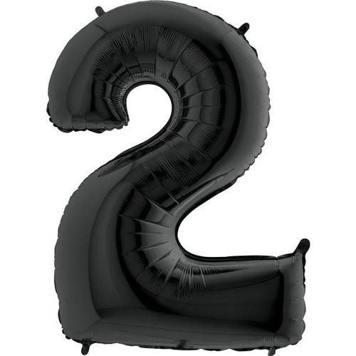 Black Number 2 Jumbo Foil Balloon 40in