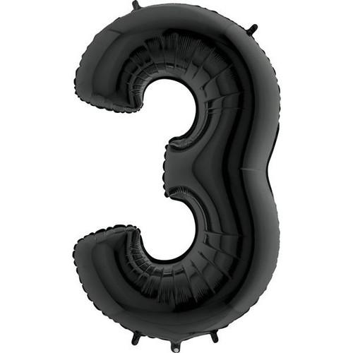 Black Number 3 Jumbo Foil Balloon 40in