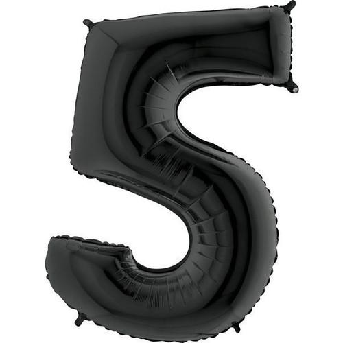 Black Number 5 Jumbo Foil Balloon 40in