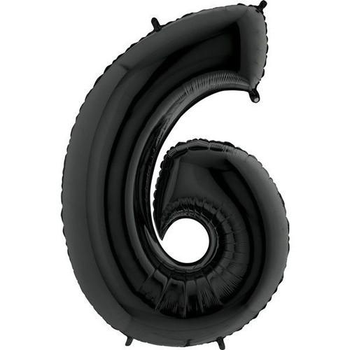Black Number 6 Jumbo Foil Balloon 40in